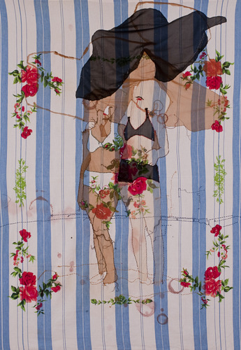 2011,192x166 cm<br />veil, paint and stitching on found table cloth