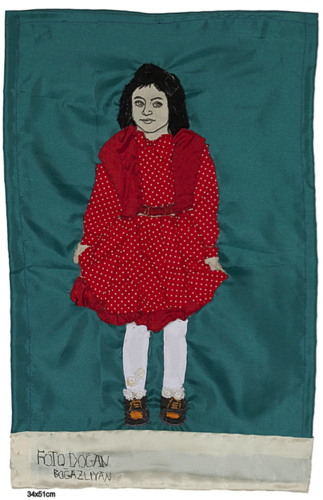 self-portrait, 2011<br />stitching and mixed media on fabric, 34 x 51 cm