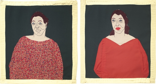 stitching on fabric<br />53x49 cm(left), 56x50 cm(right)